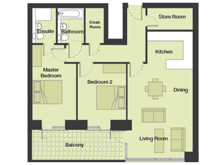 Typical 2 Bedroom Apartment Floor Plans - Charlotte ...